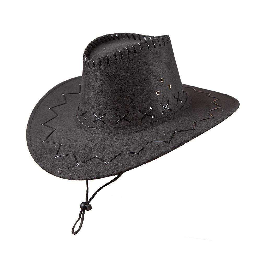 NYKKOLA Western Authentic Gunslinger Hat Suede Cowboy Hat Unisex black