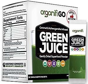 Organifi GO Packs - Green Juice Super Food Supplement 30 Individual Wrapped Portable Travel-Friendly Packs. USDA Organic Vegan Greens Powder by Organifi