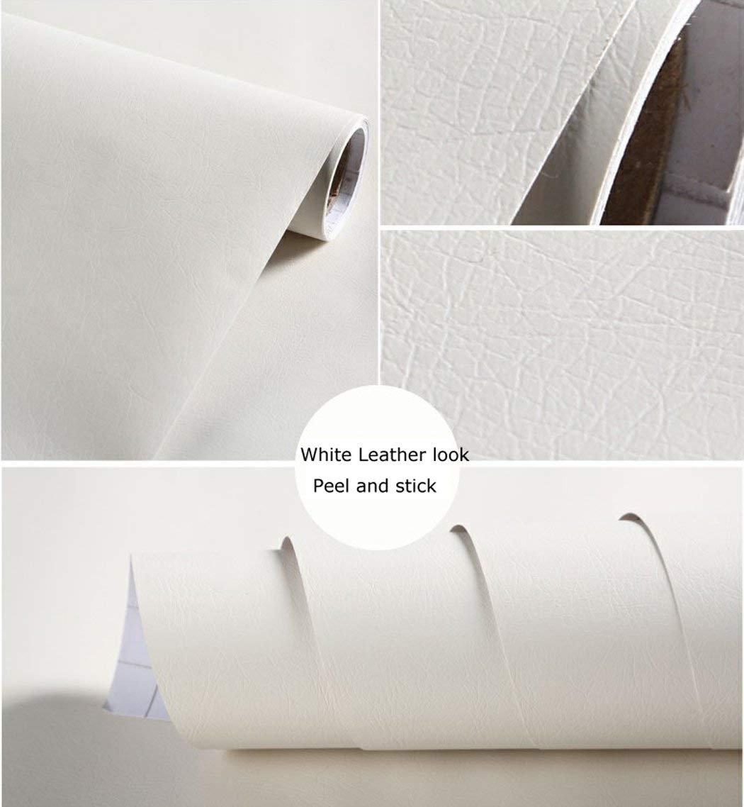 Glow4u Autocollant simili cuir Vinyl Contact papier autocollant é tagè re Doublure de tiroir pour loisirs cré atifs, blanc, 24' Wx98L 24 Wx98L