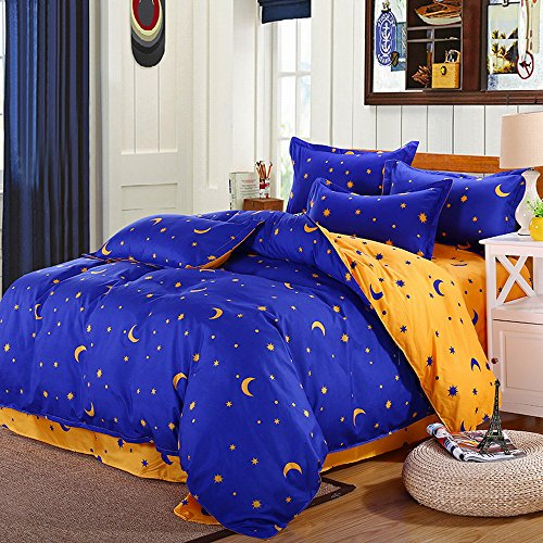 KingKara Blue/Yellowish Brown Duvet Cover Set Full/Queen Cotton Blend with Moon Star Printed Pattern Bedding Set For Kids/Adults,Without Comforter (Star Pattern Cotton)
