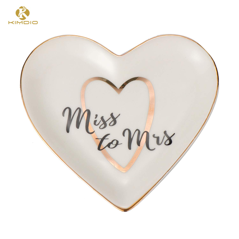 Kimdio Ring Dish Jewelry Holder Heart Shape Trinket Tray Ceramic Plate Jewelry Organizer Home Decor Dish for Birthday Wedding Mother s Day Christmas etc. A-Miss to Mrs