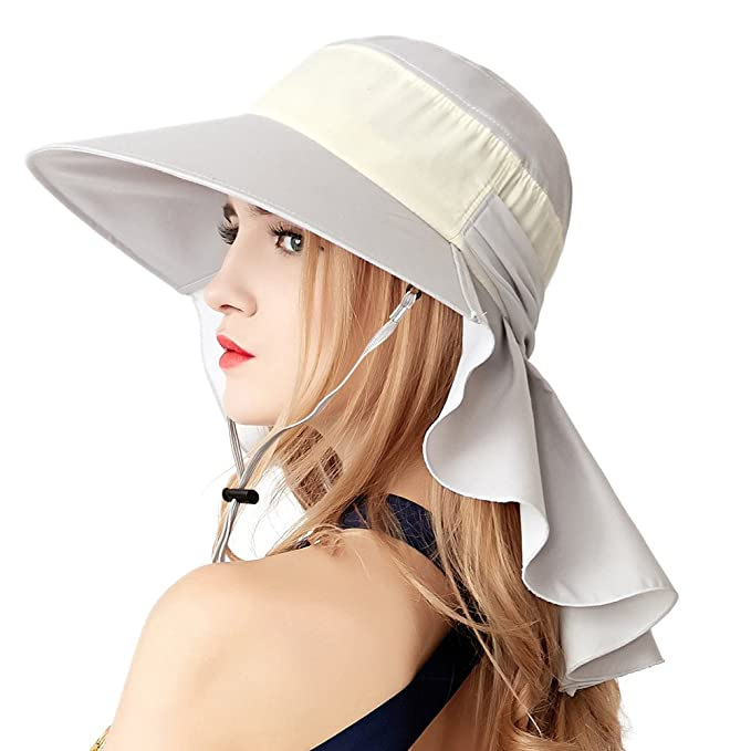 Womens Summer Flap Cover Visor Cap Cotton High Buns Ponytail Bucket Hat  Wide Birm Outdoor Sun Shade Hat 63fb598f10f