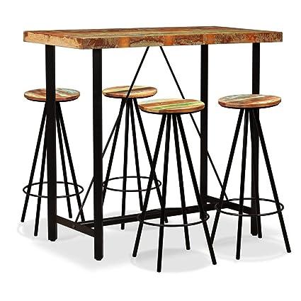 Festnight Set de 1 Table + 4 Tabourets en Bois Massif Table ...