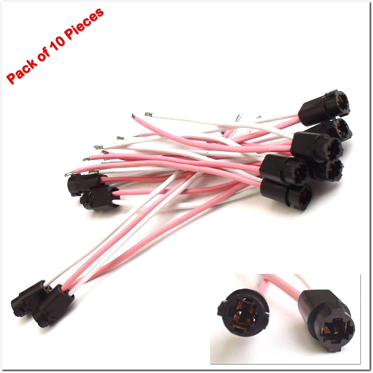 uxcell 8pcs T5 LED Lamp Dashboard Indicator Light Socket Bulb Harness Wire for Car Vehicle