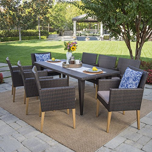 7 Piece Deep Set (Carre Outdoor 7 Piece Multibrown Wicker Rectangular Dining Set with Light Brown Wood Finished Legs and Mocha Water Resistant Cushions)