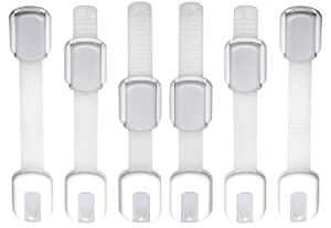 WONDERKID Top Quality Adjustable, Reusable Child Safety Locks - Latches to Baby Proof Cabinets, Doors & Appliances … (Silver, 6 Pack)