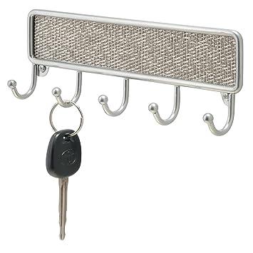 InterDesign Twillo Key Rack Organizer for Entryway, Kitchen - Wall Mount,  Metallico