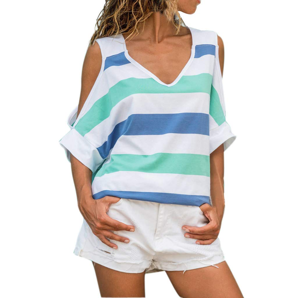 Womens Casual Loose T-Shirt Patchwork Color Block Tee Off Shoulder Blouse Tops (XXL, Blue)
