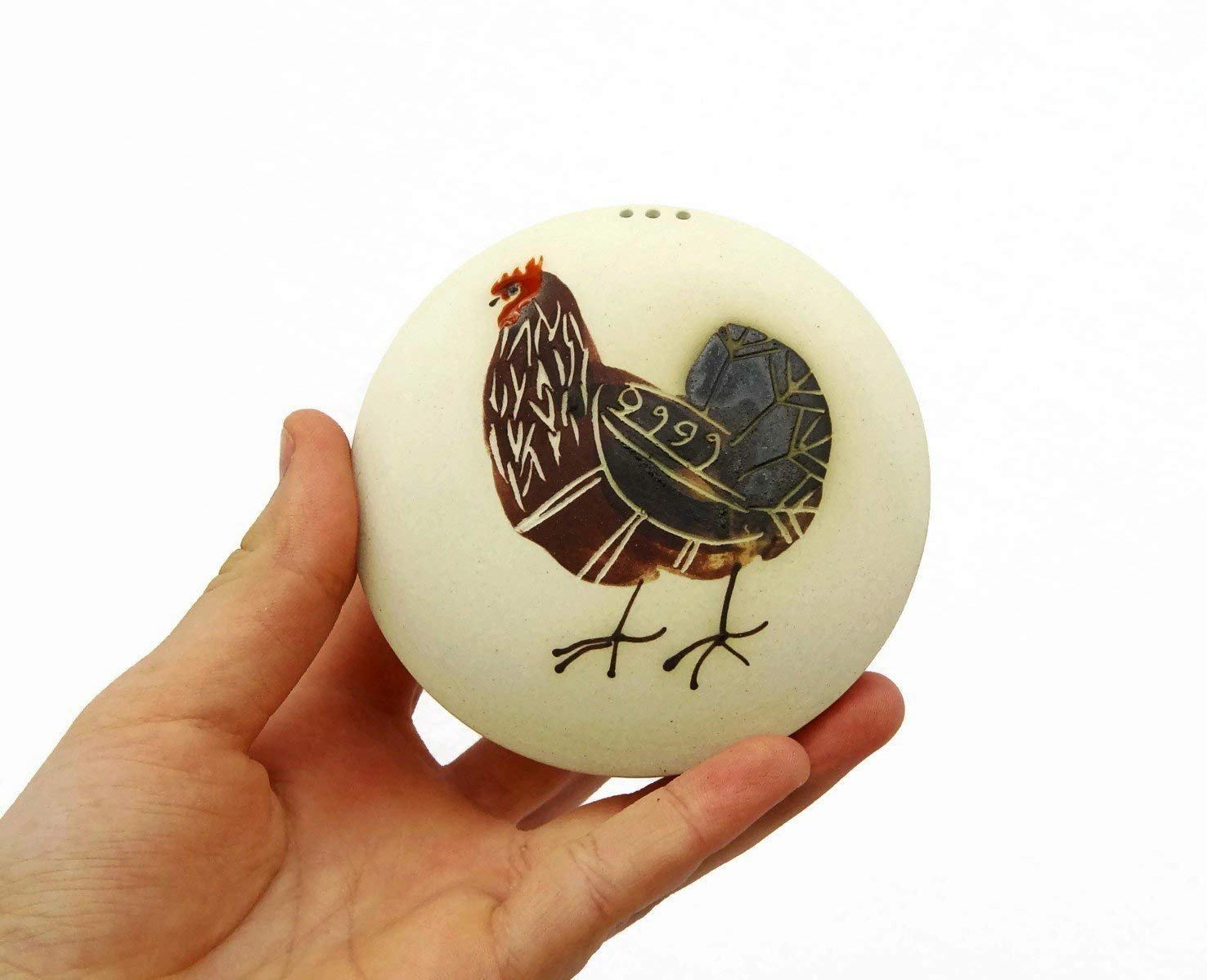 Unique functional and decorative item. Made of Stoneware Salt or Pepper Shaker with a Painting of a Rooster