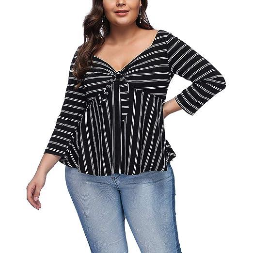 da634c86323 Amazon.com  KUREAS Plus Casual Floral Print Tee Shirts Striped Swing ...