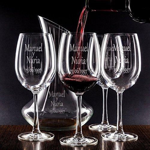 Juegos decantador y Copas de Vino (Set decantador y Copas Personalizados para Parejas – Regalo de Boda, San Valentín…