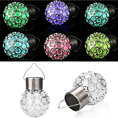 LED Light Globe Lamp,Lavany® Waterproof Solar Rotatable Outdoor Garden Camping Hanging LED Round Ball Lights (Multicolor)