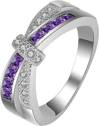 Women Sterling Silver Princess Purple CZ Channel Set Ring Wedding Band 3MM