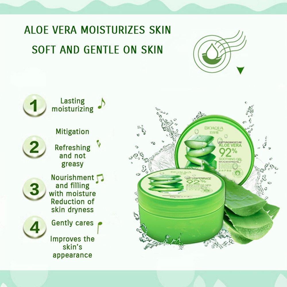 Bioaqua 220g Hydrating Acne Spot Removing Face Night Aloe Vera Gel Original Cream Replenishiment 92 Extracts Soothing Moisture Beauty