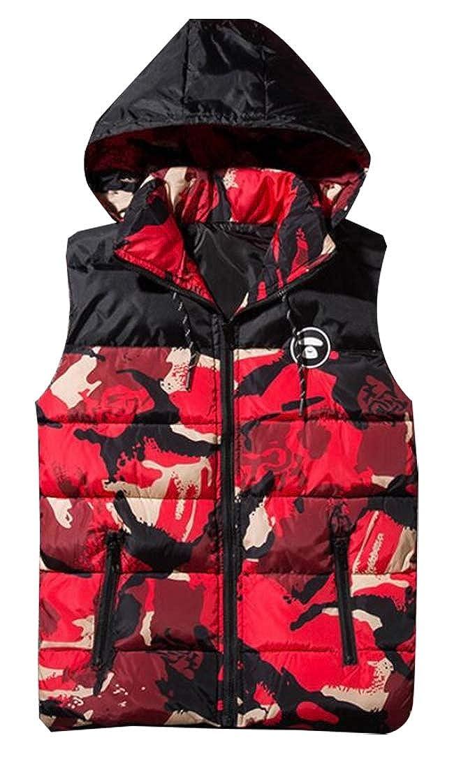 pujingge-CA Men Winter Sleeveless Camo Puffer Down Hooded Zip-Up Vest Jackets