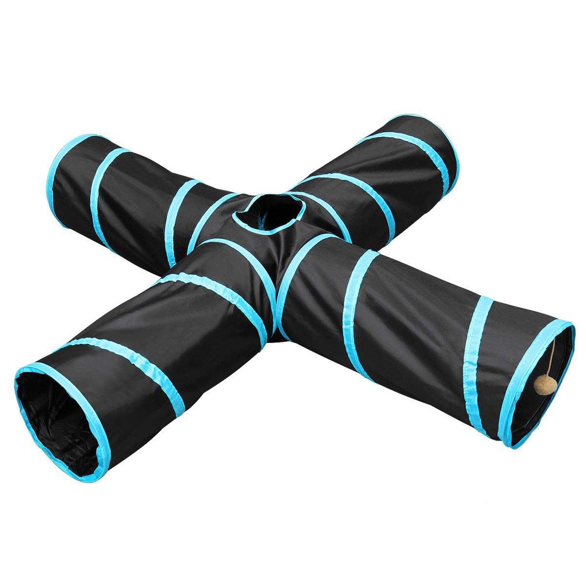 Li-HIM Pet Tunnel, 4 Way Collapsible Cat Tunnel Tube Pet Toys with Peek Hole Hang Ball Waterproof for Puppy Kitten Rabbit by Li-HIM