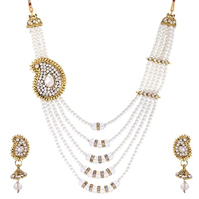 061ed9f64 Buy Zeneme White Pearl American Diamond Jewellery Set Necklace Set with  Earring for Women Girls Online at Low Prices in India
