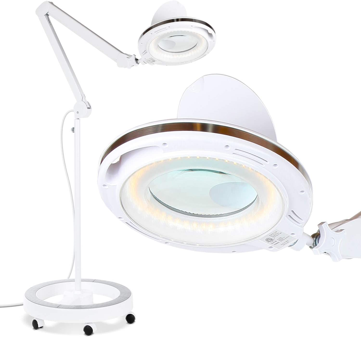 Brightech LightView Pro 6 Wheel Rolling Base Magnifying Floor Lamp