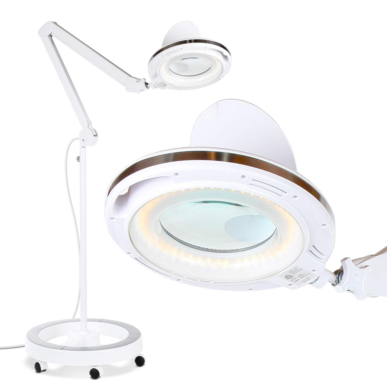 Brightech LightView Pro LED Magnifying Glass Floor Lamp - 6 Wheel Rolling Base Reading Magnifier Light with Gooseneck - for Professional Tasks and Crafts -White