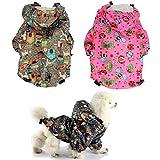 FunnyDogClothes For SMALL Pet Cat Dog RainCoat Hoodie Coat WATERPROOF Rain Jacket Rainwear (S: Length - 12'', GREY)