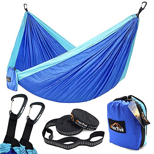 Anortrek Camping Hammock, Lightweight Portable Single & Double Hammock With Tree Straps [10 FT/18+1 Loops], Parachute Hammock For Camping, Hiking, Garden, Yard (Blue&Sky Blue, Double 78''W x ()
