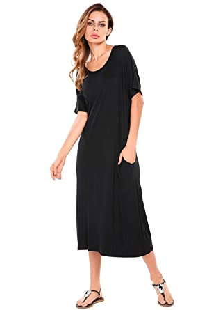5424f36825 Womens Short Sleeve Casual Loose Fit Shift Midi Long Dress with Side  Pockets