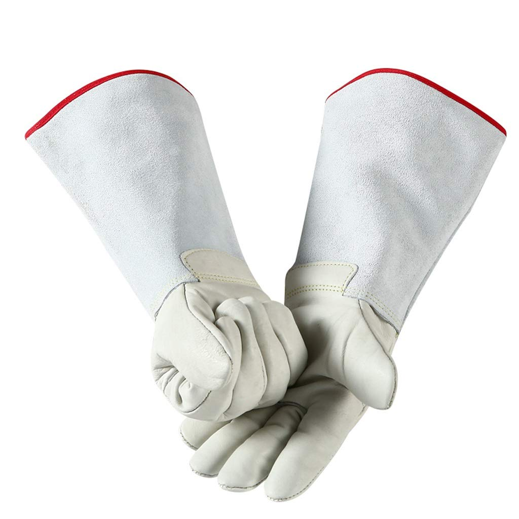 LDKFJH Long Cowhide Sleeves for Men and Women, Leather Thorn Proof Gardening Gauntlet Gloves,Idea for Work Gloves, Gloves, Heat Resistant Gloves 26-60cm (Color : White, Size : XS)