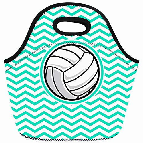 Ahawoso Reusable Insulated Lunch Tote Bag Vintage Volleyball Aqua Green Chevron Pattern Zippered 10X11 Neoprene School Picnic Gourmet Lunchbox