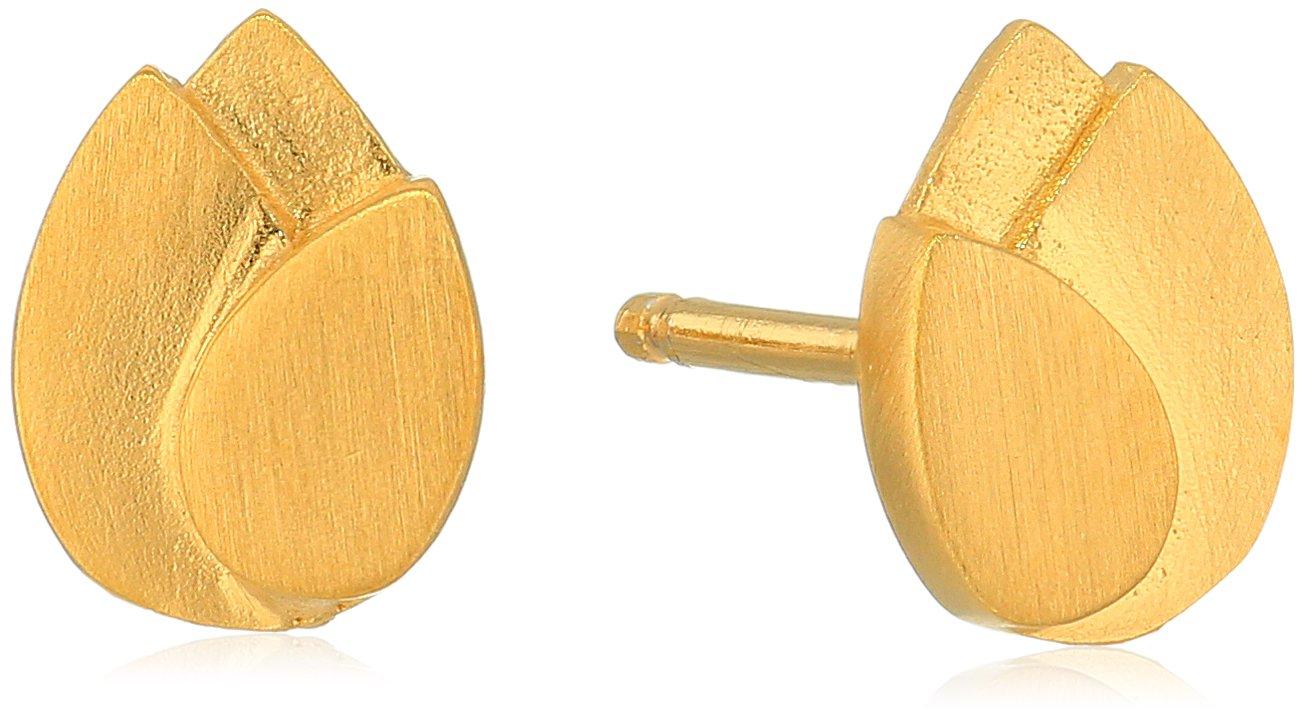Satya Jewelry Gold Plated Lotus Petal Stud Earrings