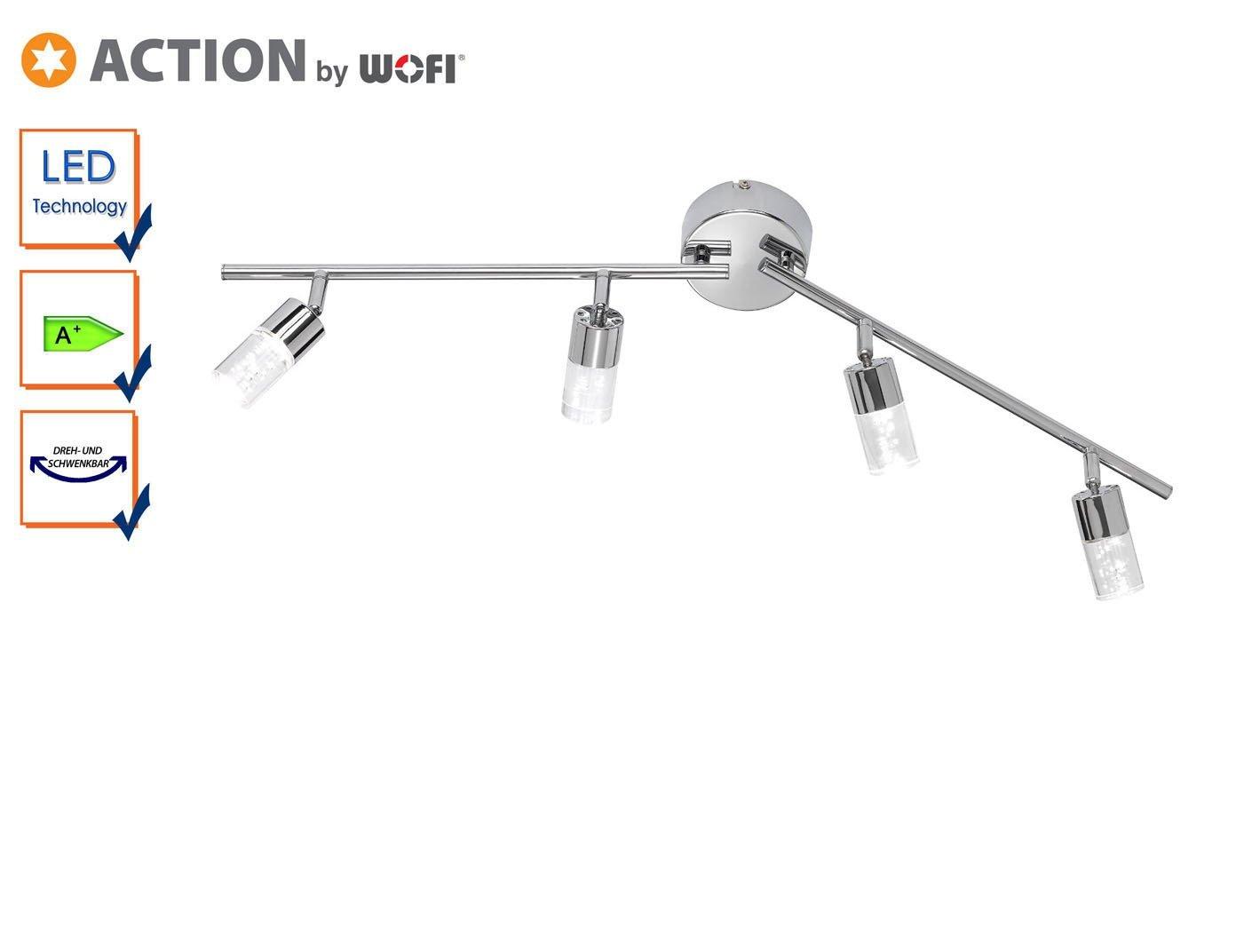 Action vigas, 4-lámpara de aluminio 4 x LED/5 W, 9 x 18, 5 x 90 cm, 3000 K, 400 lm, eficiencia energética de clase a vigas +, 4-lámpara de techo Cristal ...