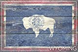 Wyoming State Flag - Barnwood Painting (12x18 Collectible Art Print, Wall Decor Travel Poster)