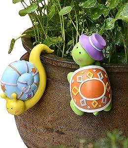 Pearlead 2Pcs Creative Resin Planter Edge Decor Flower Pot and Vase Hugger Planter Pot Hanger Decorations Hanging Animal Ornament Plant Pots Decor for Garden, Yard and Balcony (Snail+Turtle)