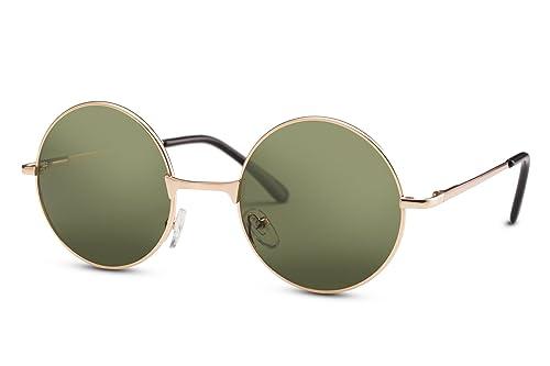 Cheapass Gafas de Sol Estilo John Lennon Retro Redondas Doradas Espejadas Unisex