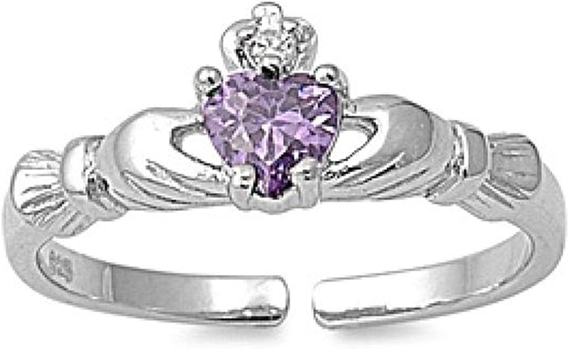 USA Seller Adjustable Claddagh Toe Ring Sterling Silver 925 Best Jewelry Clear