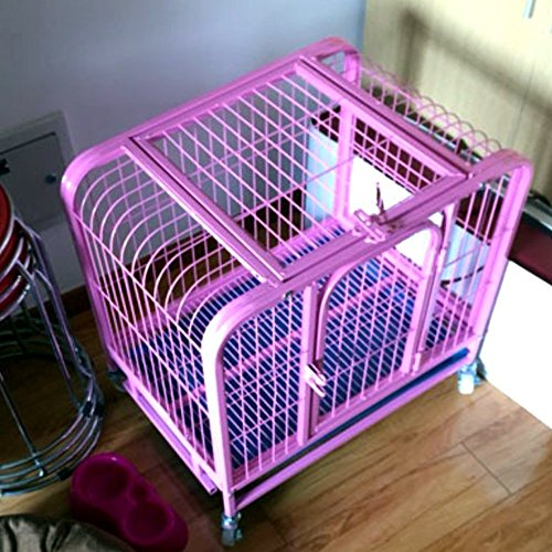 Paw Essentials MWG-C305 24in Heavy Duty Dog Cage / Pet Cage Crate Kennel w/ One Door and One Window - Pink, 23.62 x 17.72 x 22.05in ()