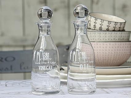 CHIC Antique Vinagre y Aceite Botellas de Vidrio frascos rústico Romantik Cocina Decoración