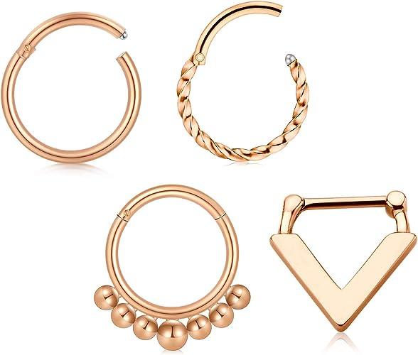 "Septum Clicker Hinged Steel Nose Ring Hoop Choose Your Color CZ 5//16/"" 8mm 16G"