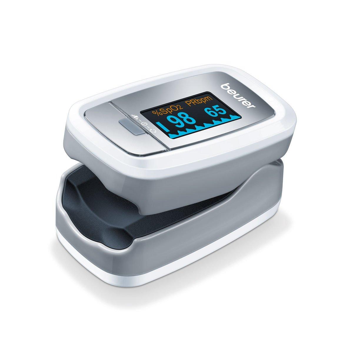 Beurer PO Pulsioxímetro de dedo pantalla con vistas color blanco y plata