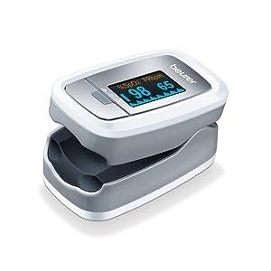 Beurer PO 30 - Pulsioxímetro de dedo, pantalla con 4 vistas, color blanco y plata