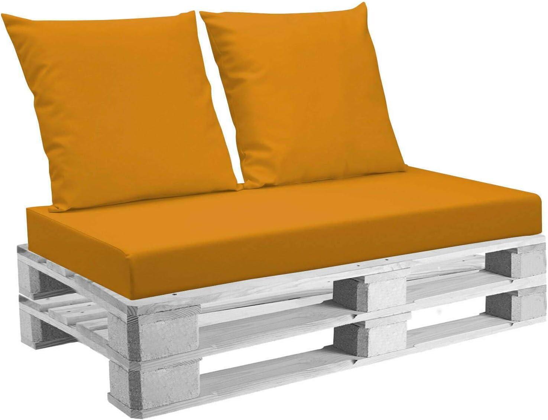 Cuscini Belem ecopelle Arancio mis.120x60 schienali 60x60 pz.02 per Esterno//Interno arredo pallet da Giardino Divanetto per bancale Cuscini interno poliuretano Tessuto Lavabile Sfoderabile