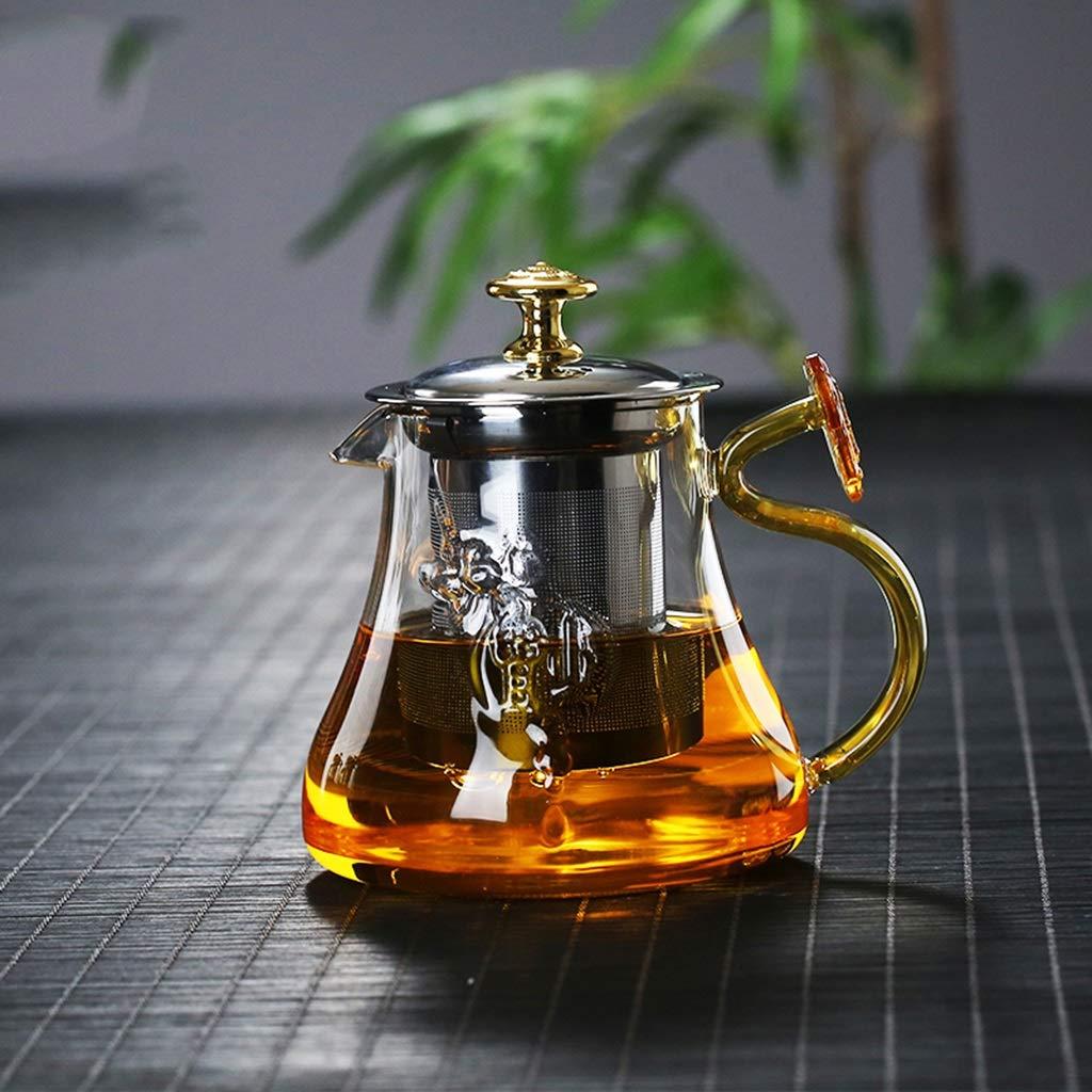 Detachable and washable tea glass teapot Ruyi teapot hot and cold heat resistant tea kettle home tea set CHAJU (Size : 500ml) by CHAJU