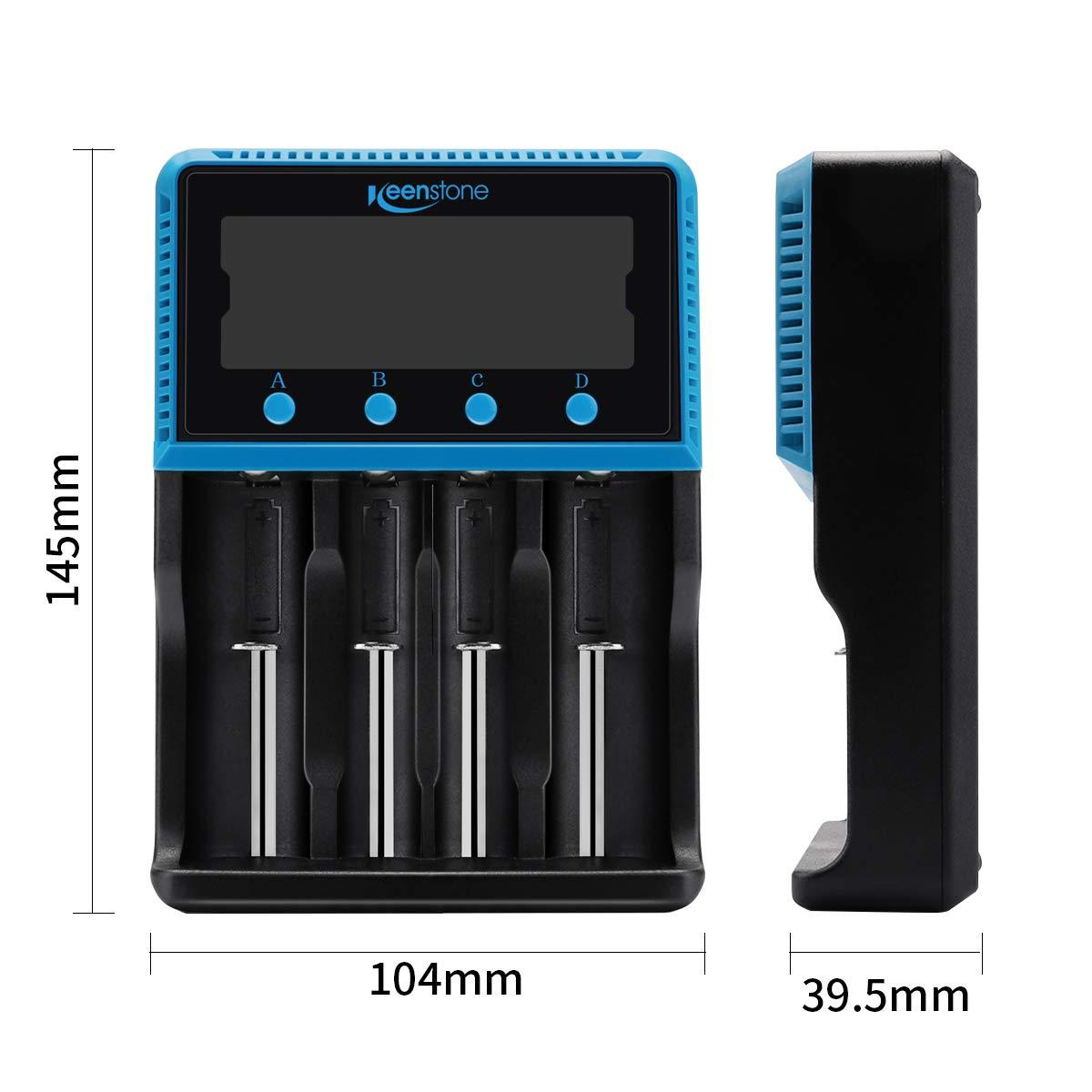 Keenstone Caricabatteria Ricaricabile 18650 Caricabatterie Universale, Ampio schermo LCD per Monitor Adatto Ni-CD Ni-CD AA AA Li-LiON LiFePO4 IMR 10440 14500 16340 18650 RCR123 26650