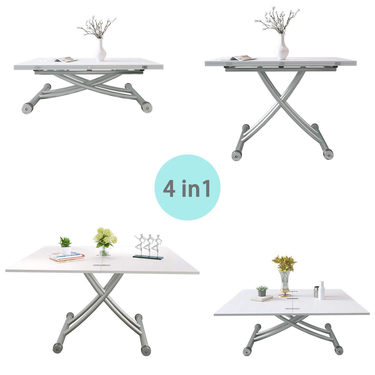 Adjustable Dining Table 4ft Folding Table Multfunctional Coffee