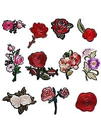 Potato001 11Pcs Rose Flower Embroidery DIY Sew Iron On Patch Badge Bag Hat Jeans Applique
