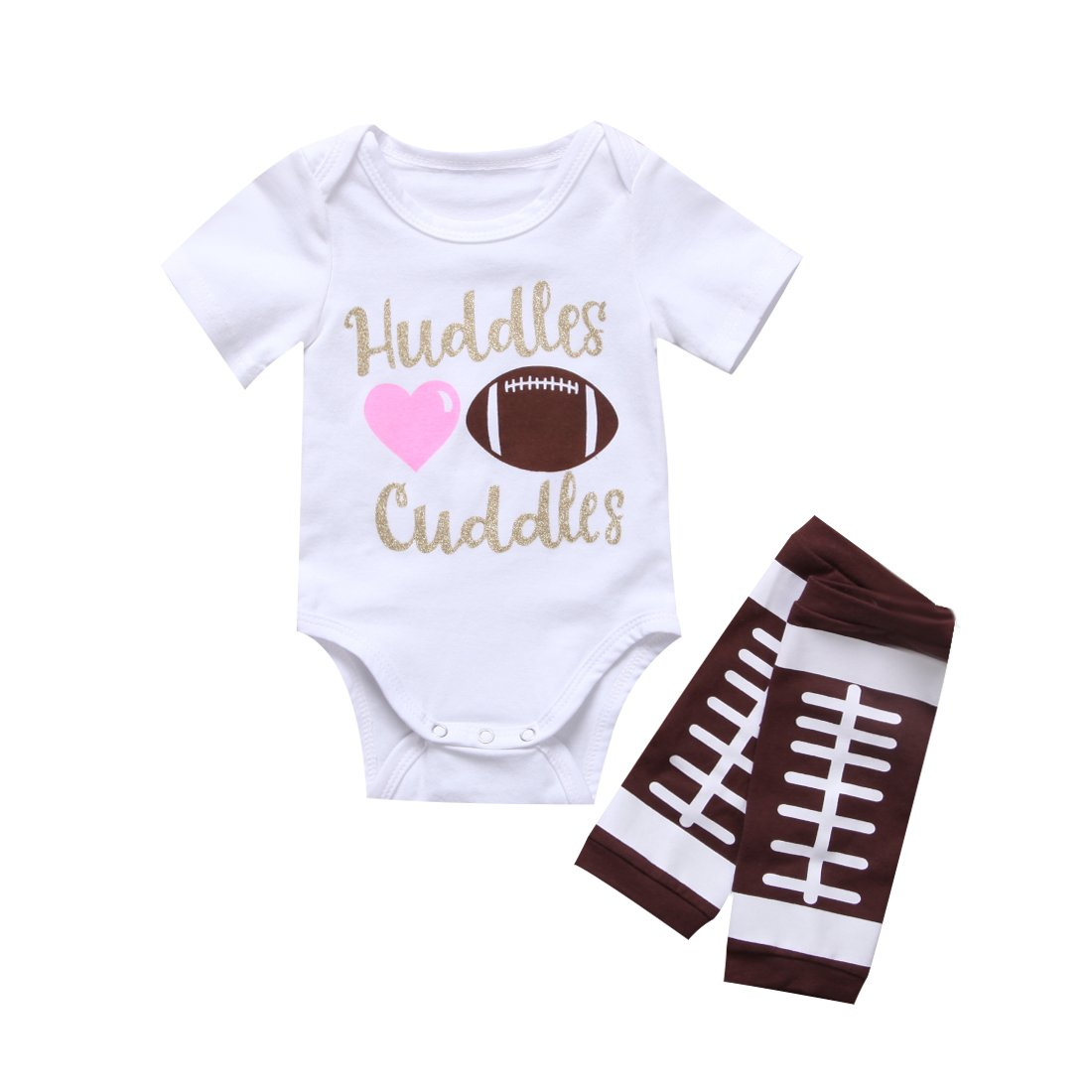 Newborn Baby Boy Girl Football Letter Romper Leg Warmers Outfit Clothes Set