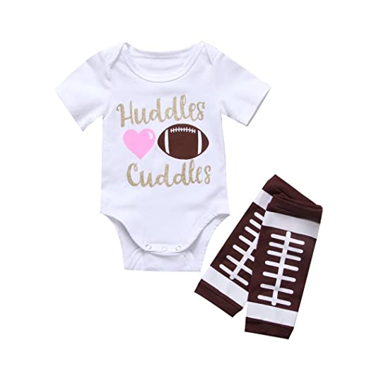 2bd2d8b3f Newborn Baby Boy Girl Football Letter Romper Leg Warmers Outfit Clothes Set  (3-6M