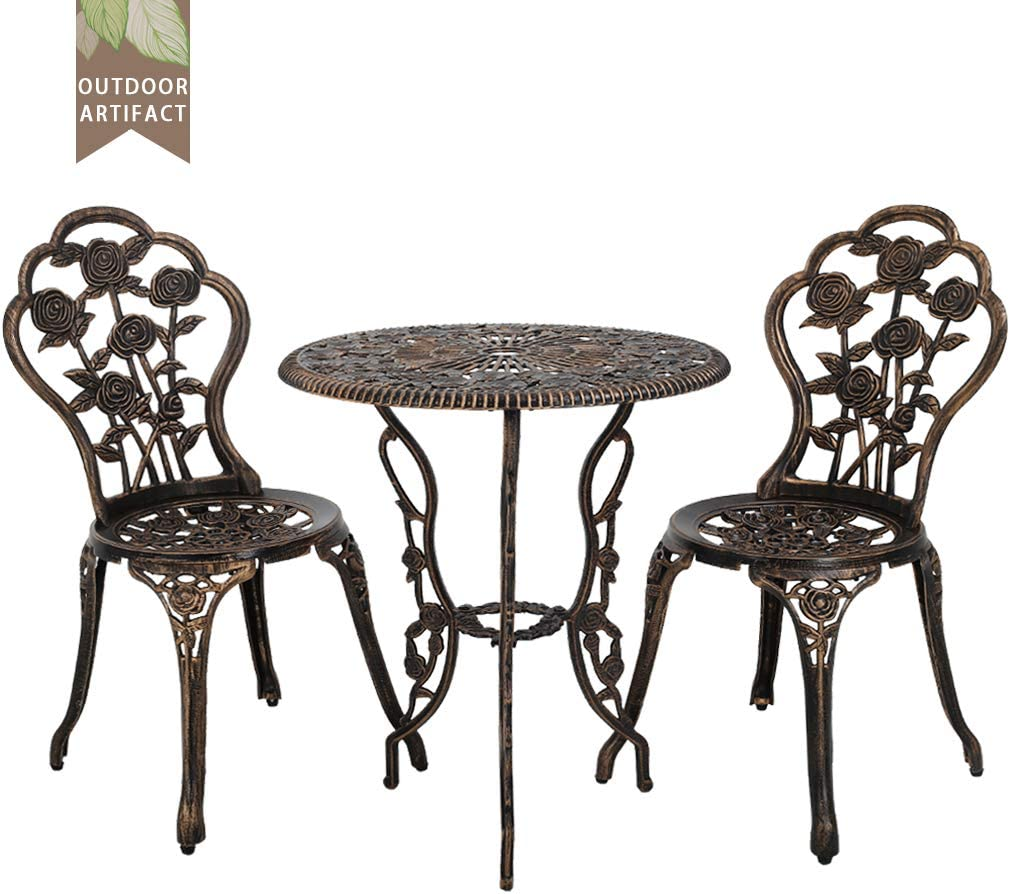 FDW Outdoor Bistro Set Patio Bistro Table Set 5 Piece Table and Chairs  Garden Patio Furniture Chat Set Weather Resistant