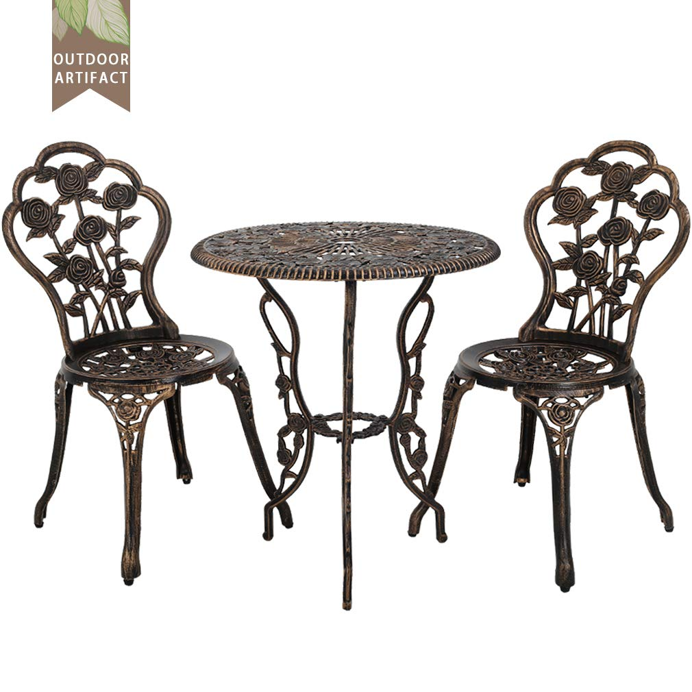 Outdoor Bistro Set Patio Bistro Table Set 3 Piece Table and Chairs Garden Patio Furniture Chat Set Weather Resistant
