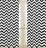 Black and White Chevron Window Treatment Zig Zag Panels - Set of 2