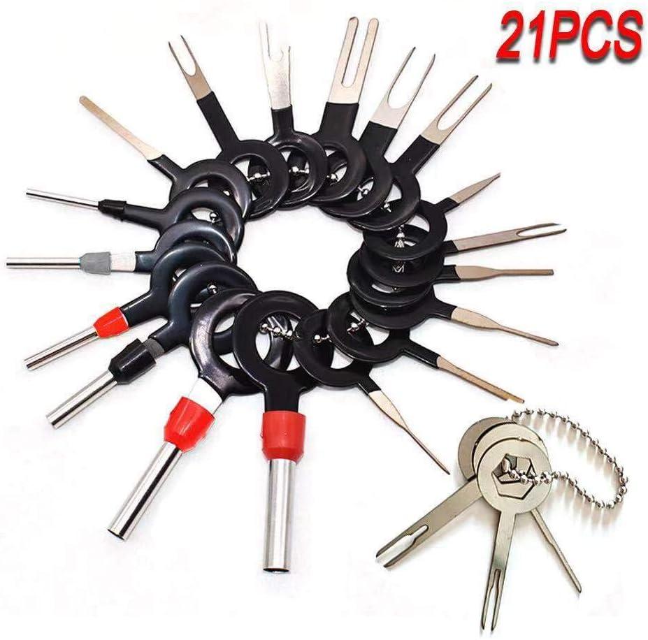 39 Pcs Pins Terminals Removal Tools for Car Auto Wire Connector, Terminal Pin Extractors Puller Remover Repair Key Tools Set Terminal (21 PCS)
